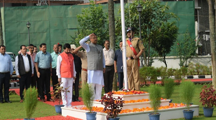 CM Rawat hosts National flag on 72nd independence day in Uttrakhand